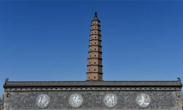 中国现存最高古砖塔——汾阳文峰塔向东倾斜1.82米