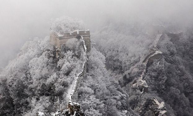 北京箭扣長城現壯美冰雪樹挂