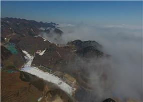 航拍下的梅花山滑雪場