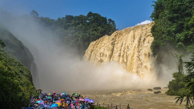 黃果樹瀑布迎來今年入汛最大水量