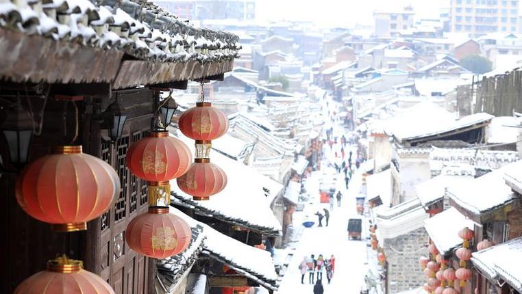 貴州黎平:古城翹街雪景美