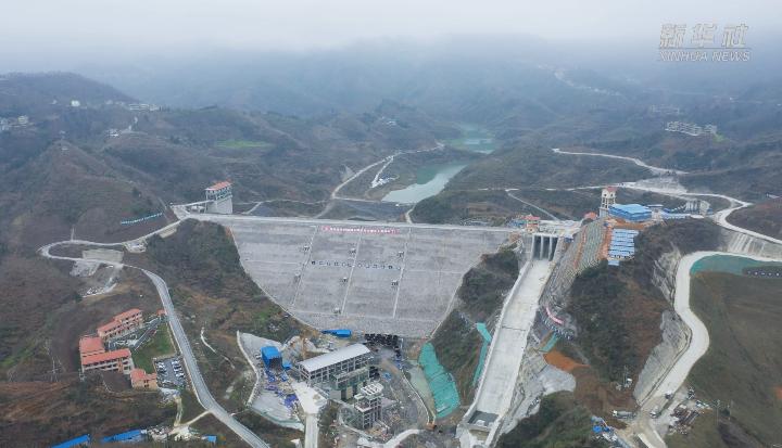航拍建設中的貴州黃家灣水利樞紐工程